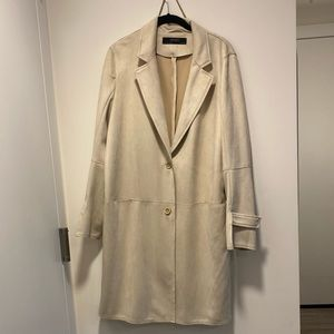 Zara Cream Faux  Suede Trench Coat (like new)